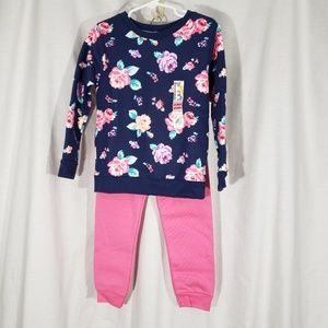 New Girls 4T 2 Piece Outfit Blue Pink Sweatpants